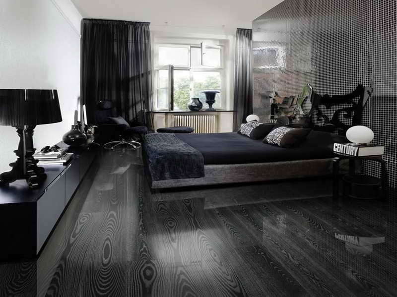 Черный пол и стены