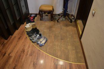 Комбинация ламината и плитки в прихожей