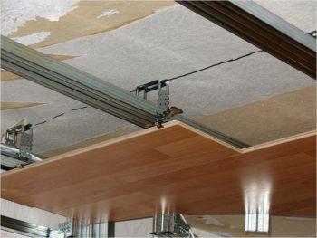 Панели на потолке комнаты
