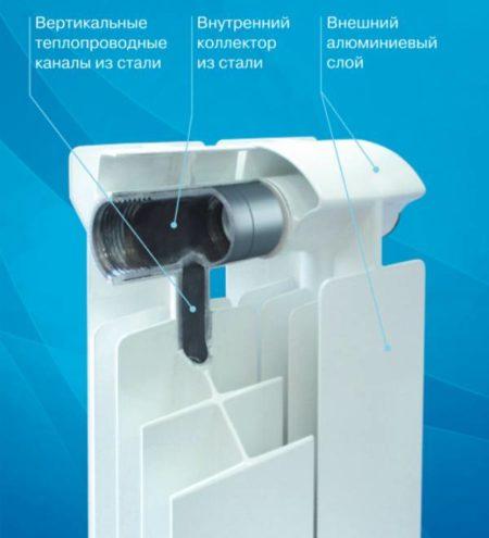 Стальные трубы конструкции исключают контакт алюминия с жидкостью